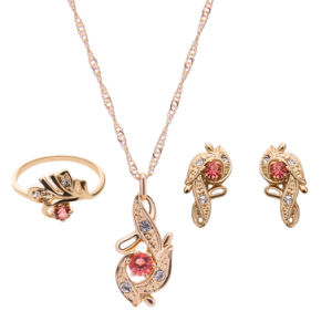 Rhinestone Crystal Rose Gold Pendant Earring Ring Necklace 3 PCS Set Fashion Jewelry pictures & photos