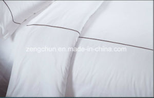 Plain White Hotel and Hospital 100% Polyester Hotel Bed Sheet Set pictures & photos