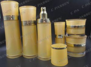 Lemon-Yellow Waisted Acrylic Cosmetic Packaging Cream Jar Lotion Bottle (PPC-CPS-087) pictures & photos
