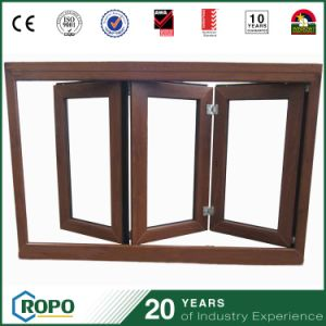 PVC Double Glass Blinds Inside Folding Window and Wood Frame Window pictures & photos
