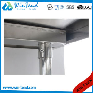 Stainless Steel Round Tube Shelf Reinforced Robust Construction Kitchen Workbench with Height Adjustable Leg for Sale pictures & photos