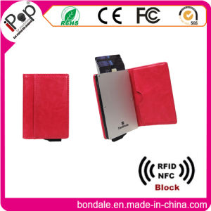 Aluminium Credit Card Holder Wallets with RFID Block Leather Protection