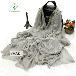 2017 High Quality Lady Fashion Silk Scarf with Embroidery Shawl pictures & photos
