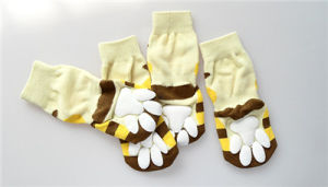 Cartoon Honey Bee Anti Skid Warm Knitting Pet Socks pictures & photos