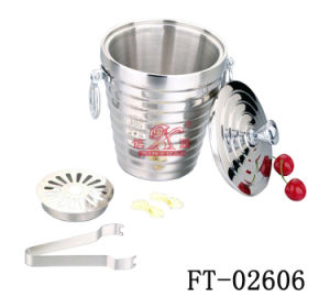 Stainless Steel Ice Bucket with Tongs (FT-02606)