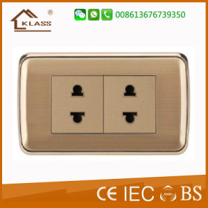 Top Quality Brushed Stainless Steel Double 2pin Socket pictures & photos