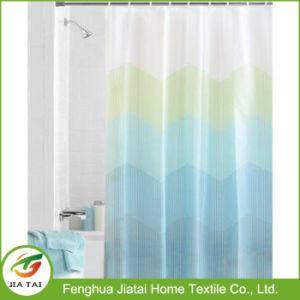 Zig-Zag Dots Blue & Green Chevron PEVA Shower Curtain pictures & photos
