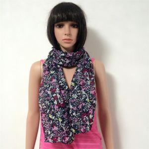 100% Polyester, Voile Material Multifunctional Scarf with Small Flowers Printing pictures & photos