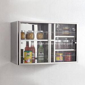 Modern Stainless Steel Kitchen Cabinet with Sliding Door 7033 pictures & photos