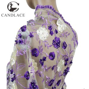 Hot Selling Purple Stone Beaded Purple African Lace for Wedding pictures & photos