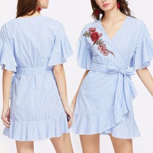 Fashion Women Leisure Casual Stripe Embroidery V-Neck Bandage Dress pictures & photos