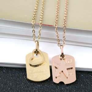 Custom Design Fashion Jewelry Personalized Letter Square Necklace Pendant pictures & photos