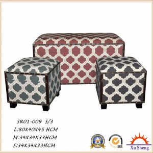 Linen Patterned Fabric Print Storage Ottoman Trunk Bench, Foot Rest pictures & photos