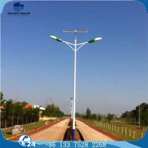 80W Double Arm Hot-DIP Galvanized Steel Pole Solar Street Light pictures & photos