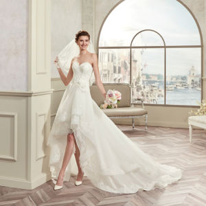 High Quality Sweetheart Appliques Tulle Hi-Lo Wedding Dress 2017