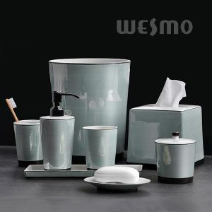 Delicate Glazed Porcelain Bathroom Set (WBC0958C) pictures & photos