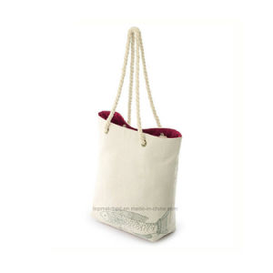 Rope Handle Print Canvas Tote Bags Wholesale pictures & photos
