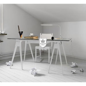 Tempered Glass Top Writing Desk White Oak Legs pictures & photos