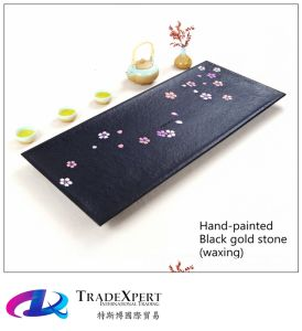 Natural Hand-Painted Cherry Blossom Black Gold Stone Tea Tray of Monoblock