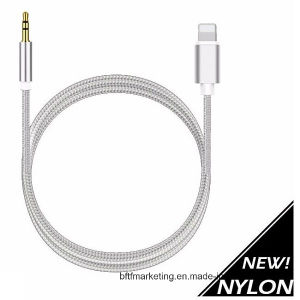 1m Nylon Braided Aux Cable Lighting to 3.5mm Male Headphone Jack Audio Adapter pictures & photos