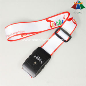 "High-Quality Polyester 2"" Solid White Color Printed Luggage Strap with 3 Dails Lock pictures & photos"