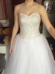 Hot Handmade Sweetheart Sequin Plus Tulle Ball Gown Wedding Dress pictures & photos