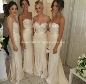 White Strapless Evening Party Dress Sequins Sheath Bridesmaid Dress Yao8 pictures & photos