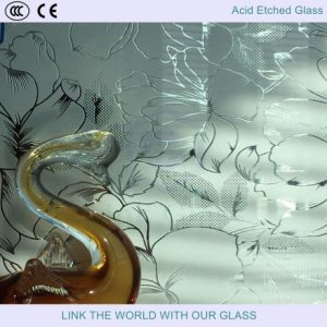 2440*3660mm Acid Etched Glass with French Embossing with Satinized Glass with Sandblasted Glass pictures & photos