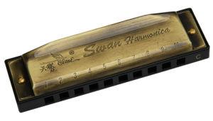 10 Hole Bronze-Coloured Harmonica