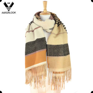100 Acrylic Knitting Pattern Checked Scarf Shawl with Fringes pictures & photos