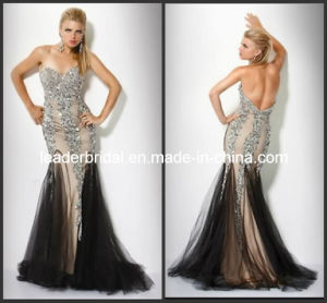 Sweetheart Pageant Dresses Silver Rhinestones Beading Black Nude Evening Dresses Mermaid Party Prom Gowns E1474 pictures & photos