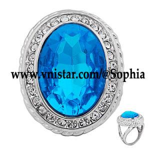 Fashion Blue Gemstone Rings (R046R-18)