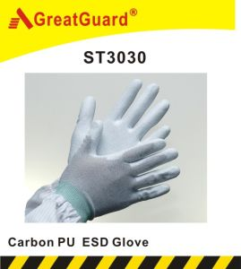 Carbon PU ESD Glove (ST3030) pictures & photos
