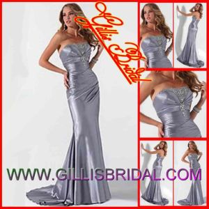 Hot Strapless Beaded Charmuse Mermaid Bridesmaid Dresses Evening Prom Party Dresses Wedding Dress Sold by Gillis Bridal Co., Ltd. 3374