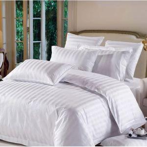 Factory Wholesale Custom White Stripe 100% Cotton Bed Sheet Set (JRD031)