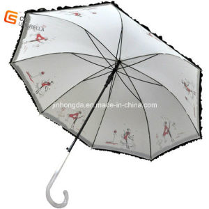 Black Electro Metal Frame Lace Straight Umbrella (YS-1004A) pictures & photos
