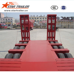 3 Axles Low Deck Semi-Trailer for Construction Equipment pictures & photos