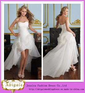 2014 Charming A Line Strapless Sleeveless Ruffle Hi-Lo Asymmetric Short Wedding Dresses (hs027) pictures & photos