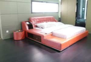 2014 Hot Sale Kingsize, Queen Size Leather Bed