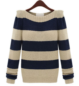 Ladies Fashion Acrylic Knitted Striped Sweater (YKY2008) pictures & photos