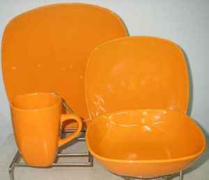 16PCS Orange Color Square Shape Dinner Set