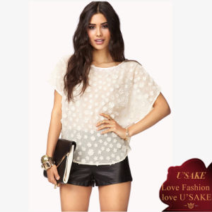 2014 New Style Fabulous White Cap Sleeve Woman Tops (S306029)