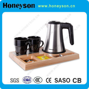 #304 Electric Water Kettle with Wooden Tray Set for Hotel Use pictures & photos