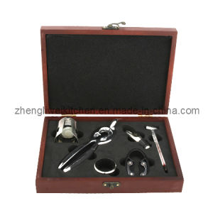 Champagne Opener Set in Wooden Box (600034-D) pictures & photos