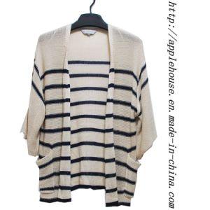 3/4 Length Sleeve Stripe Long Length Cardigan Sweater (8504wknit)