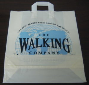 HDPE White Printed Plastic Soft Loop Handle Promotion Bag pictures & photos