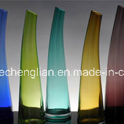 Colorful Glass Vase with Slant Top (V-112) pictures & photos