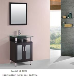 Wooden Vanity Bathroom Furniture with Glass Sink Mirror pictures & photos