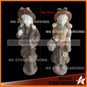 Colorful Natural Stone Carving Children for Garden Decoration 80cm pictures & photos