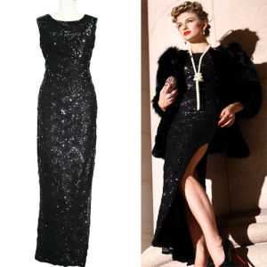 Elegant Black Sequins Long Evening Dress for Ladies (2-384-990)